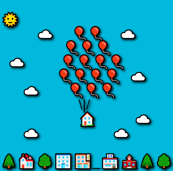 "In this example, we create an image of a house being lifted up by the balloons from the famous adventure film ""Up"". We use several dozen emojis to create this drawing, including buildings, trees, balloons, clouds, and the Sun. We set a light blue color for the sky and add a dark shadow around the emoticons. We use the black color for emoticon outline and choose the ""Sans-Serif"" font of 48 pixels in size to draw them."