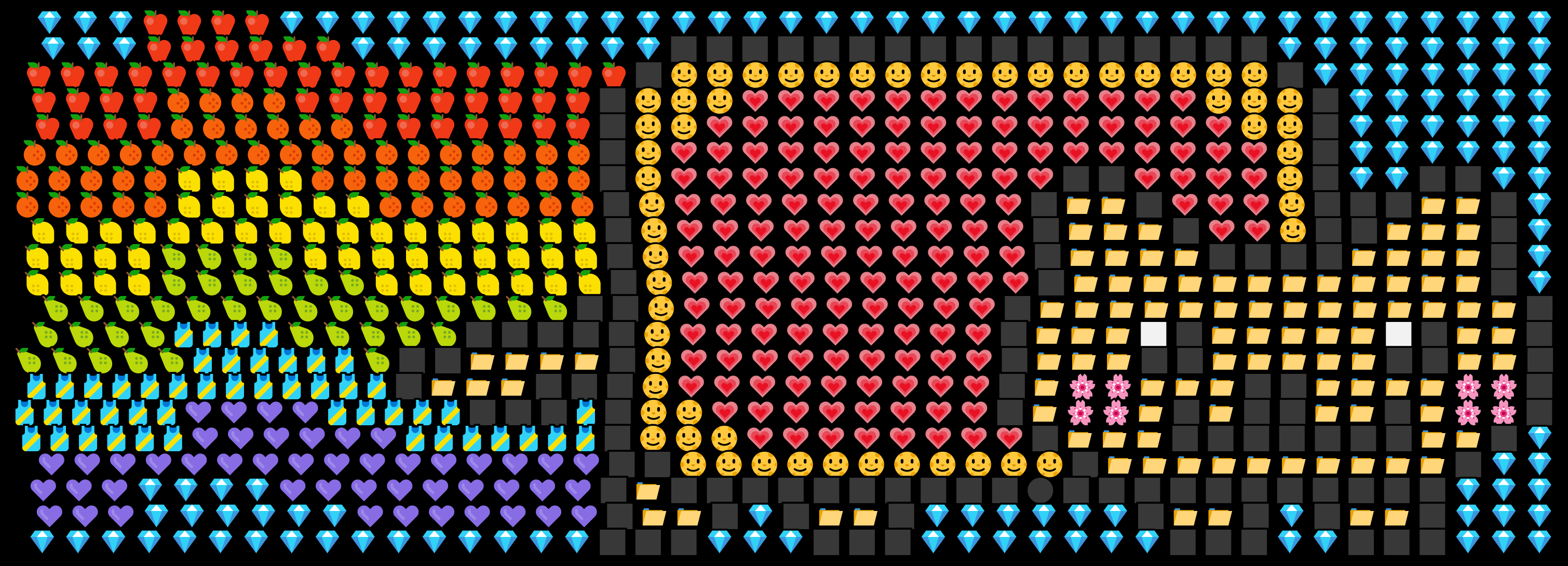 This example draws the well-known Nyan Cat Internet meme from various Unicode emojis. It uses hearts, fruits, gemstones, flowers, and other emoticons as individual colorful pixels. It sets the black color for the background and aligns all emojis to the right side as that's the direction where the cat is flying.