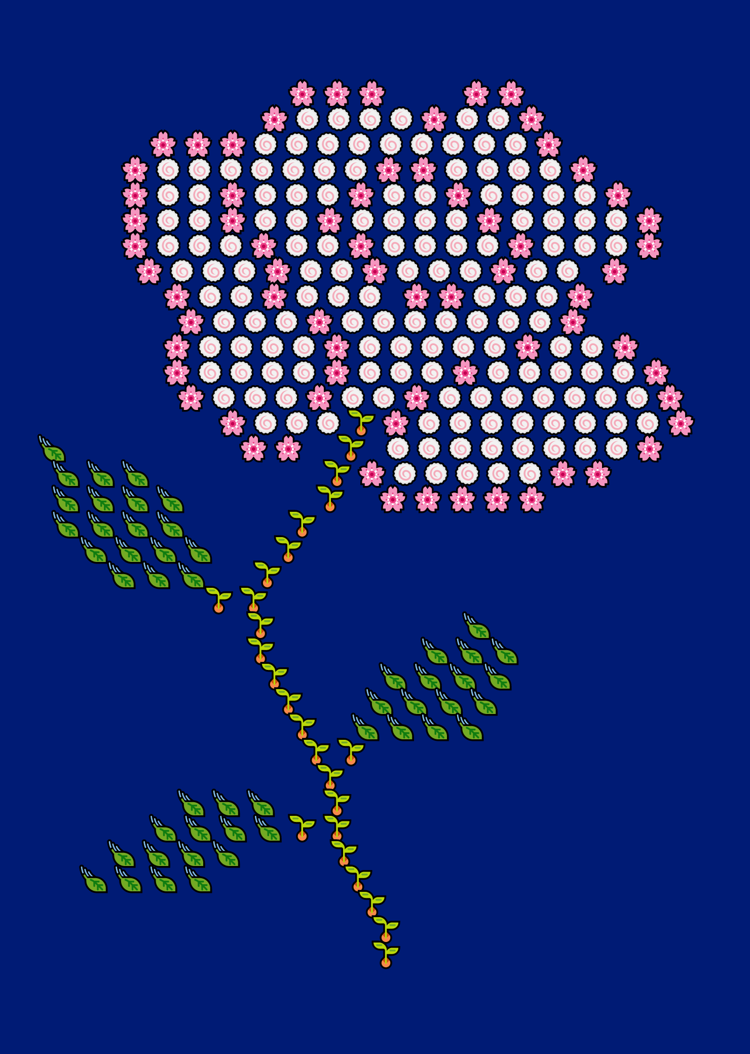 "In this example, we paint a rose from just four Unicode pictograms. We use the ""cherry blossom"" and ""fish cake"" icons for the rose petals, ""seedling"" icon for the stem, and ""leaf fluttering in wind"" for the leaves. We place the flower on a large navy-blue canvas measuring 1400 by 2000 pixels and add a padding of 40 pixels around it. We align the rose to the middle of the image and set the Monospace font for the icons."